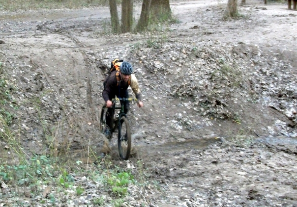 Bob crossing the muddy creek