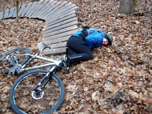 Zack crashed on the boardwalk corner at Bittersweet