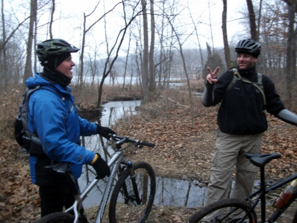 Zack and Bob chatting at Bittersweet Mountain Biking Trail