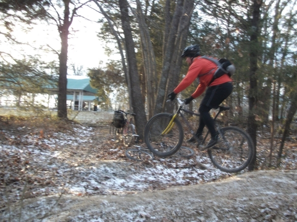 Luke trying to jump his bike.