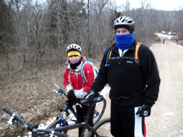 Brandon and Ronda Mt. Biking in the cold