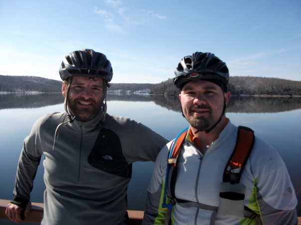 Bob and Luke at the dam at Council Bluff