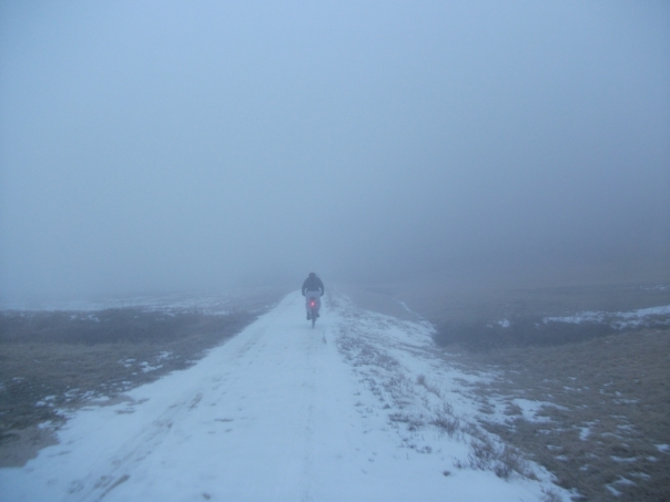 Riding the Katy Trail in the snow and fog