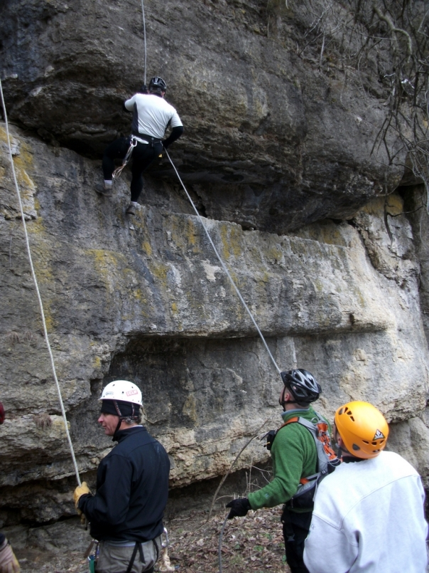 Casey Rappelling with Luke Belaying