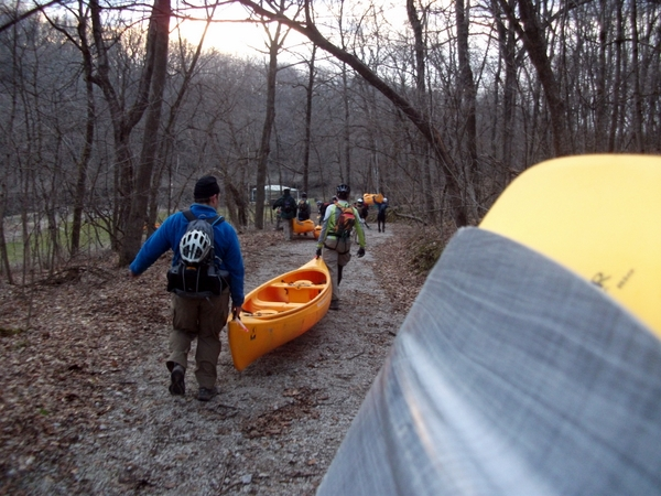 Carrying the Canoes at the Lightning Strikes Adventure Race