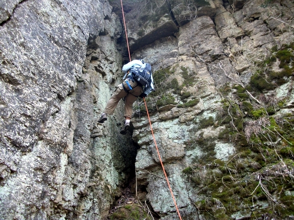 Casey Rappelling at LSAR
