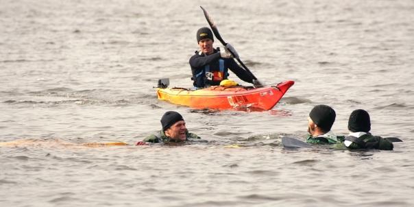 Casey submerging a canoe