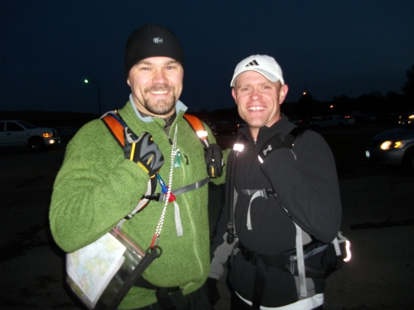 Luke and Darin at the start of the Truman Lake Adventure Race