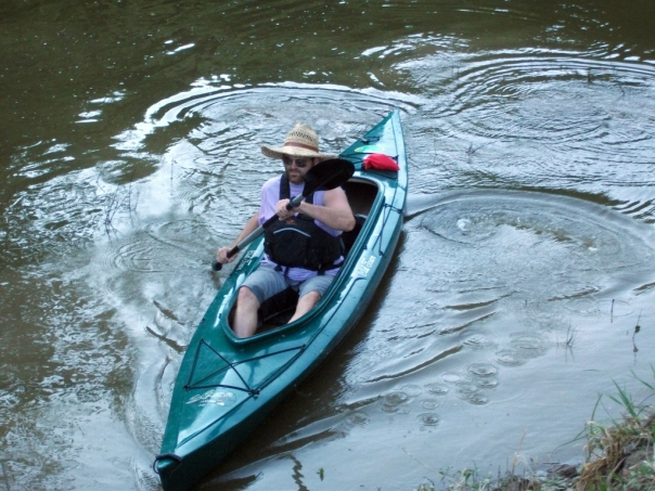 Bob paddling on Cedar Creek