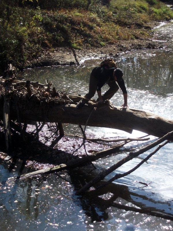 Bob almost falling in the creek