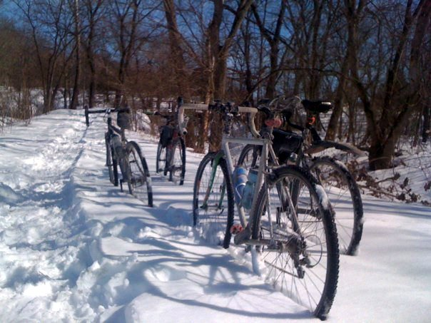 Cross bikes in the snow
