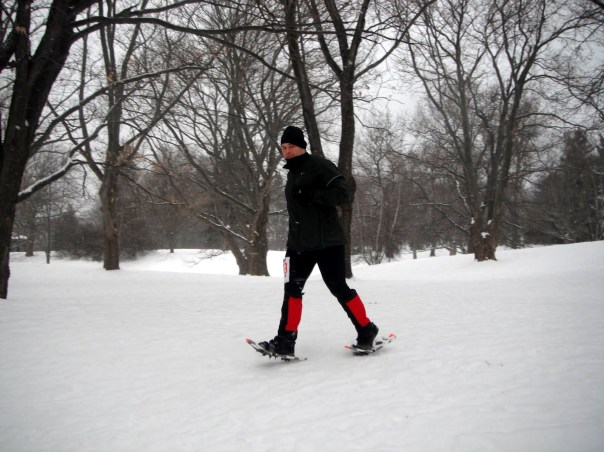 Casey in snowshoes