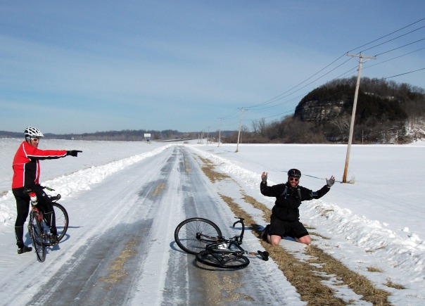 Bob crashing his bike on ice