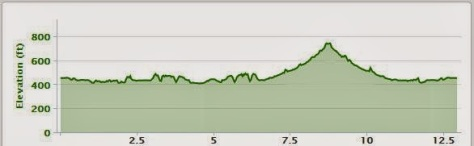 Elevation profile of the Frozen Feet Half Marathon