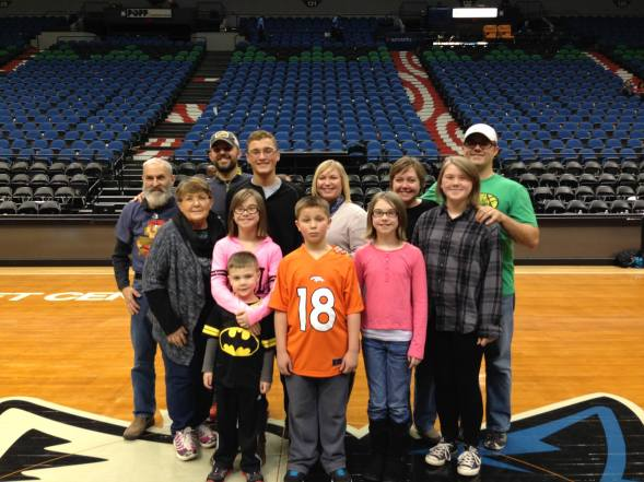 Family photo on the Timberwolves' court after the game.