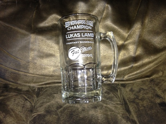 fantasy baseball beer mug trophy