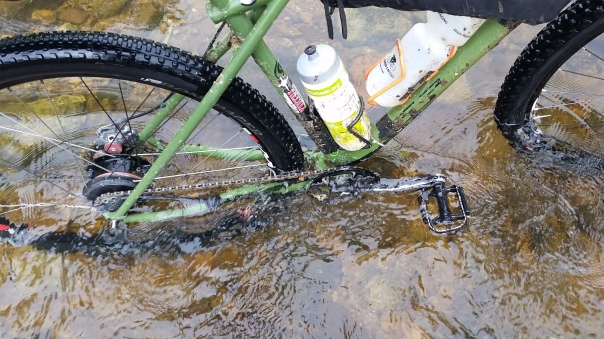 The old GT's been getting a lot of time in the water this year. **Note the taped-on bottle cage.**