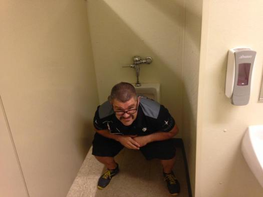 Pooping in urinal