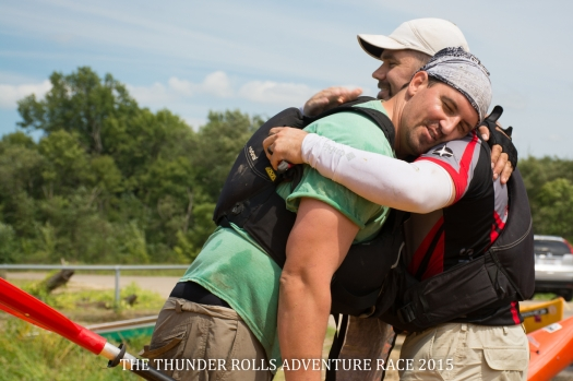 Bro Hug after Paddling at Thunder Rolls Adventure Race