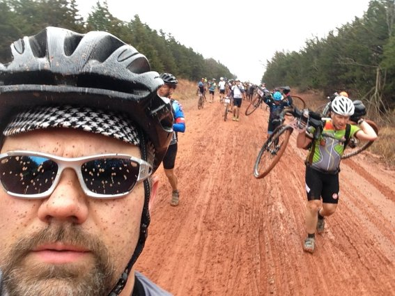walking the bikes at Land Run 100